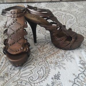 Fergie Studded Bronze Heel Sandal sz 8.5